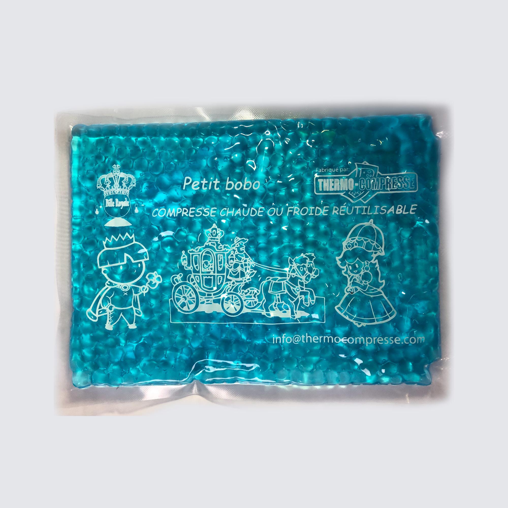 Compresse chaude ou froide format bébé 6''X7.5'' (bille bleu)